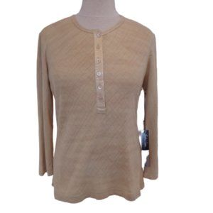 Barbara Lesser Diamond Patterned Henley NWT- Sz. L